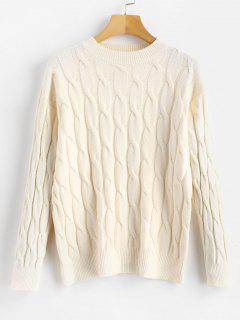 Suéter Tipo Jersey De Punto Liso - Blanco Cálido