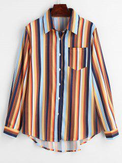 Multicolor Gestreiftes Longline Pocket Shirt - Multi L