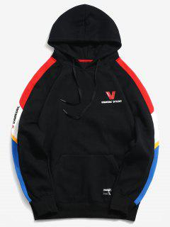 Kangaroo Pocket Colorblock Fleece Lined Graphic Hoodie - Black L