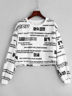 Printed Cropped Pullover Sweatshirt - White L