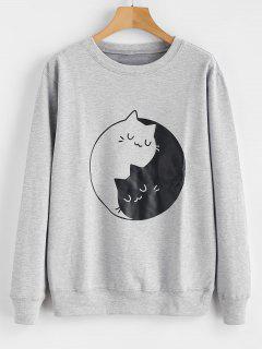 Kitten Print Graphic Sweatshirt - Gray M