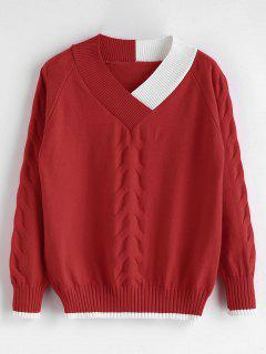 Contrast Trim Cable Knit Preppy Sweater - Red Wine