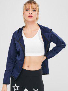 Heather Zipper Hooded Jacket - Deep Blue M