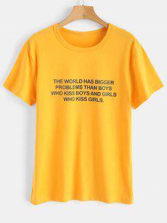 T-shirt Jersey Graphique Texte Imprimé - Jaune Clair M