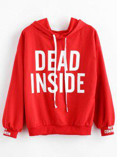 Letter Drop Shoulder Drawstring Casual Hoodie - Red 2xl
