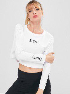 Brief Drop Schulter Crop T-Shirt - Weiß M