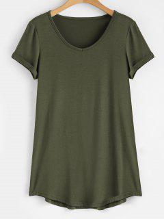 Camiseta Con Cuello En V Y Manga Enrollada - Verde Del Ejército 2xl