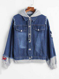 Contrasting Fabric Distressed Denim Jacket - Blue S