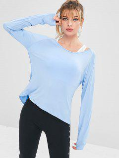 Athletic Backless Draped Sport Tee - Light Sky Blue S
