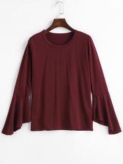 T-shirt à Manches Evasées - Rouge Vineux L