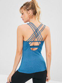 Padded Strappy Gym Tank Top - Blue Ivy L