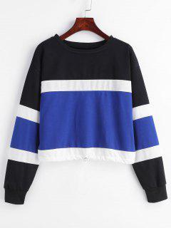 Color Block Drawstring Waist Sweatshirt - Multi L