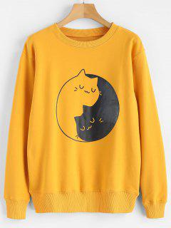 Kitten Print Graphic Sweatshirt - Mustard Xl