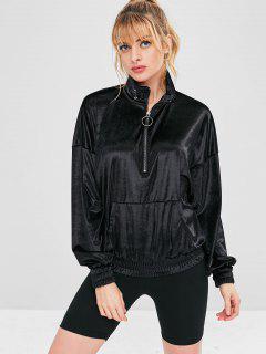 Half Zip Velvet Sport Pocket Sweatshirt - Black L