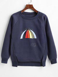 Umbrella Print Fleece Sweatshirt - Mist Blue 2xl