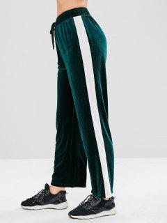ZAFUL Velvet Color Block Straight Pants - Dark Green L