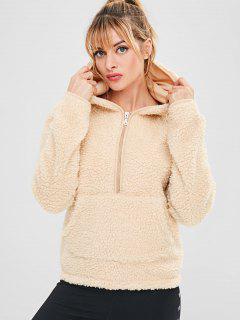 ZAFUL Faux Fur Zipper Kangaroo Pocket Hoodie - Blanched Almond L