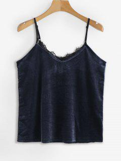 Contrasting Lace Trim Velvet Cami Top - Midnight Blue S
