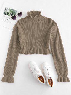 Solid Color Ruffles Crop Sweater - Tan M