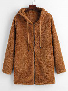 Furry Fleece Zip Up Long Hoodie - Brown M
