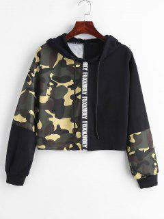 Camo Print Patchwork Cropped Hoodie - Multi S