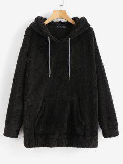 Kangaroo Pocket Plain Faux Fur Hoodie - Black L