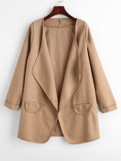 Draped Open Front Faux Wool Coat - Camel Brown
