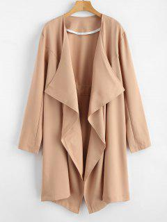 Open Front Draped Trench Coat - Camel Brown Xl
