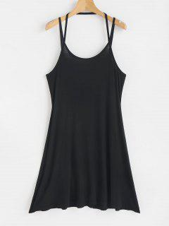 Mini Strappy Slip Dress - Black L