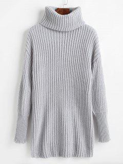 Relaxed Drop Shoulder Turtleneck Sweater - Light Gray