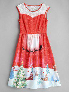 Christmas Print Lace Insert Dress - Red S