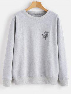 Floral Print Graphic Pullover Sweatshirt - Light Gray M