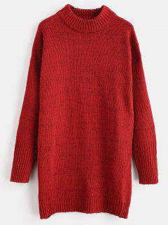 Vestido De Suéter De Cambio De Cuello Mock - Vino Tinto