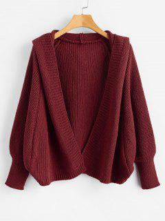 Hooded Open Front Batwing Cardigan - Red Wine