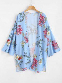 Floral Print Open Front Kimono Top - Sea Blue L