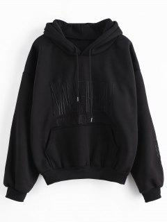 Letter Embroidered Kangaroo Pocket Fleece Hoodie - Black M