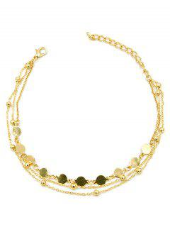 Round Shape Beaded Alloy Chain Anklet - Gold