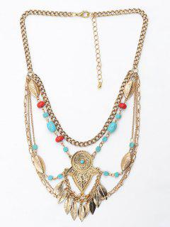 Leaf Tassel Faux Turquoise Engraved Necklace - Gold
