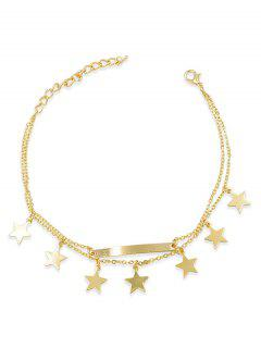Layered Bar Design Star Chain Anklet - Gold