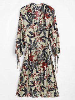 Leaf Print Tie Side Slit Kimono - Dark Sea Green