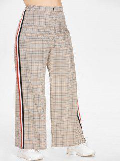 ZAFUL Plus Size Plaid Contrast Wide Leg Pants - Multi 2x