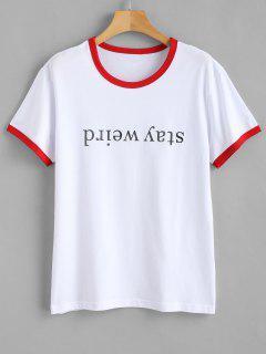 T-shirt Jersey Graphique à Manches Courtes - Rouge Xl