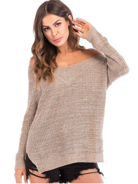 lady Off The Shoulder Chunky Knit Sweater - TAN M Mobile