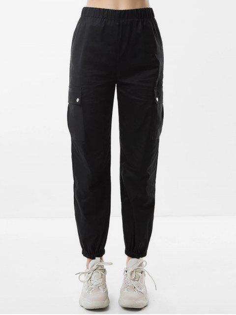 ladies High Waist Pockets Jogger Pants - BLACK S Mobile