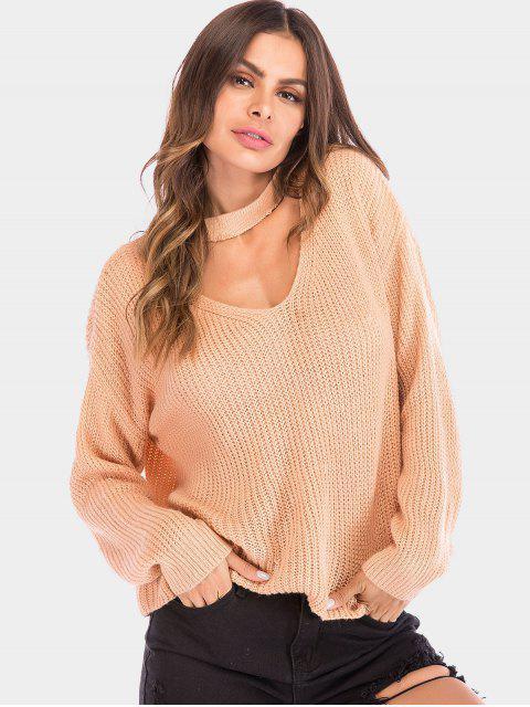 Plain Chunky Knit Schlüsselloch Pullover - ORANGE PINK XL  Mobile