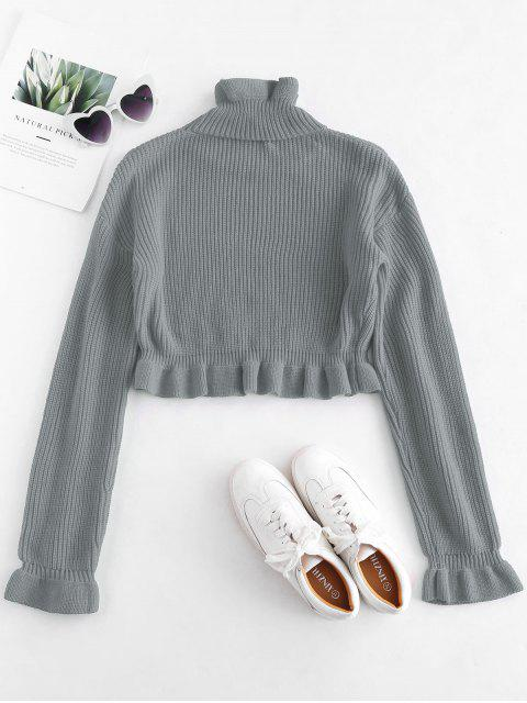 outfits Solid Color Ruffles Crop Sweater - GRAY L Mobile