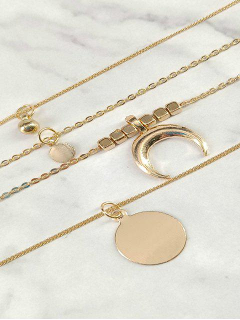 new Multilayered Moon and Round Shape Pendant Necklace - GOLD  Mobile