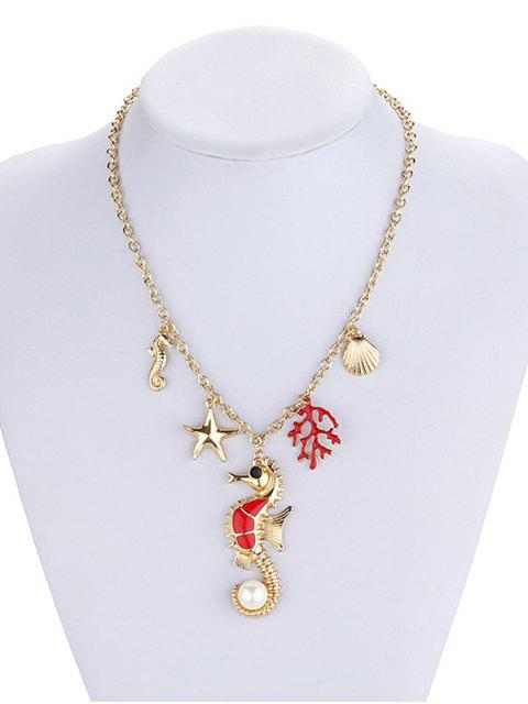 lady Marine Animal Coral Faux Pearl Necklace - GOLD  Mobile