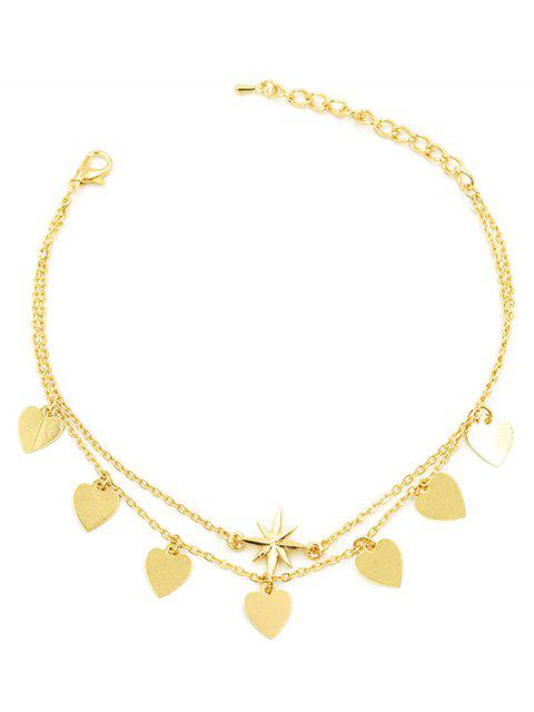 sale Layered Heart Tassel Design Chain Anklet - GOLD  Mobile