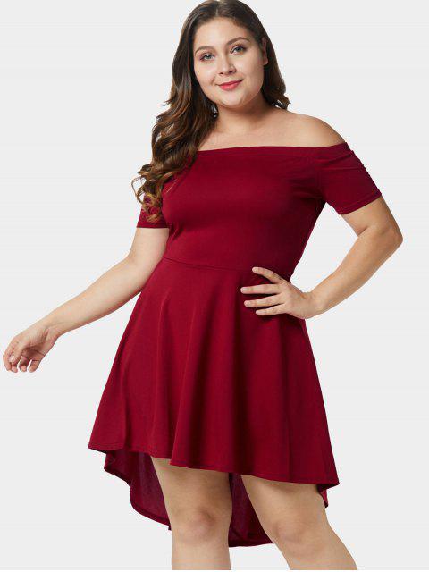 buy Off Shoulder Plus Size A Line Asymmetric Dress - RED WINE 3X Mobile